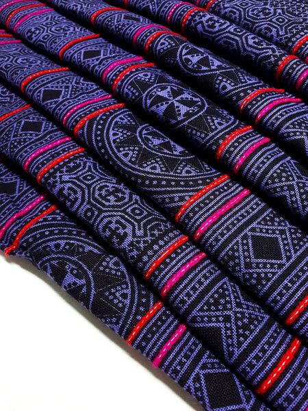 Thai Hand printed Fabric Natural Cotton Fabric by the yard Hmong Fabric Hill Tribe Fabric Vintage Fabric Indigo Batik Violet Black HF66