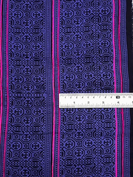 Thai Hand printed Fabric Natural Cotton Fabric by the yard Hmong Fabric Hill Tribe Fabric Vintage Fabric Indigo Batik Violet Black HF67