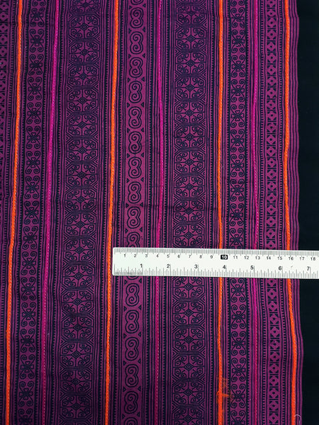 Thai Hand printed Fabric Natural Cotton Fabric by the yard Hmong Fabric Hill Tribe Fabric Vintage Fabric Batik Orchid Pink HF68
