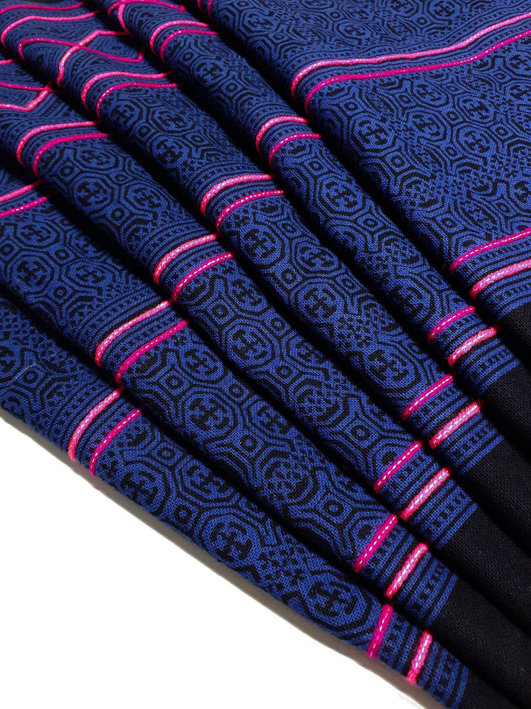 Thai Hand printed Fabric Natural Cotton Fabric by the yard Hmong Fabric Hill Tribe Fabric Vintage Fabric Indigo Batik Dark Blue HF69