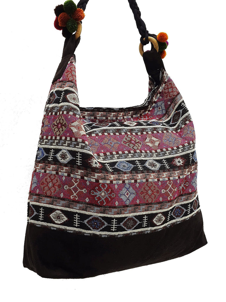 SWP7 - Thai Woven Bag Cotton Purse Tote bag Women bag Hippie bag Hobo bag Boho bag Shoulder bag Market bag Shopping bag Handbags Pom Pom Strap