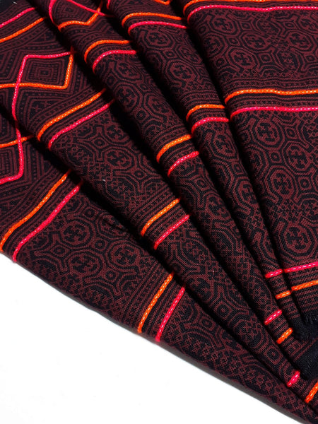 Thai Hand printed Fabric Natural Cotton Fabric by the yard Hmong Fabric Hill Tribe Fabric Vintage Fabric Batik Red Brown HF71