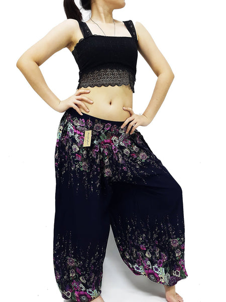 SRT@71 Harem Pants Women Yoga Pants Aladdin Pants Maxi Pants Boho Pants Gypsy Pants Rayon Pants Genie Trousers Unique Foral Flower Navy Blue