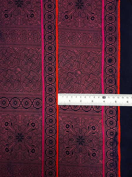 Thai Hand printed Fabric Natural Cotton Fabric by the yard Hmong Fabric Hill Tribe Fabric Vintage Fabric Batik Light Red HF72