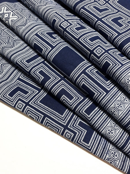 Thai Hand printed Fabric Natural Cotton Fabric by the yard Hmong Fabric Hill Tribe Fabric Vintage Fabric Indigo Batik White Navy Blue HF76