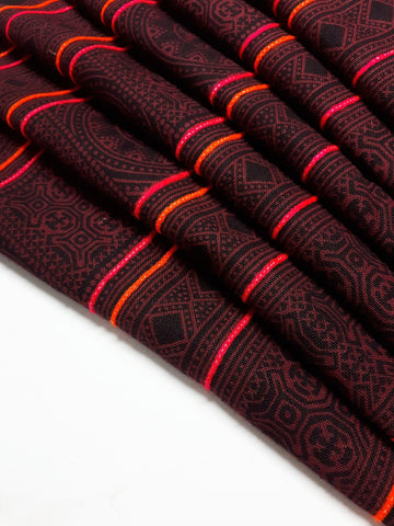Thai Hand printed Fabric Natural Cotton Fabric by the yard Hmong Fabric Hill Tribe Fabric Vintage Fabric Batik Brown Black HF78