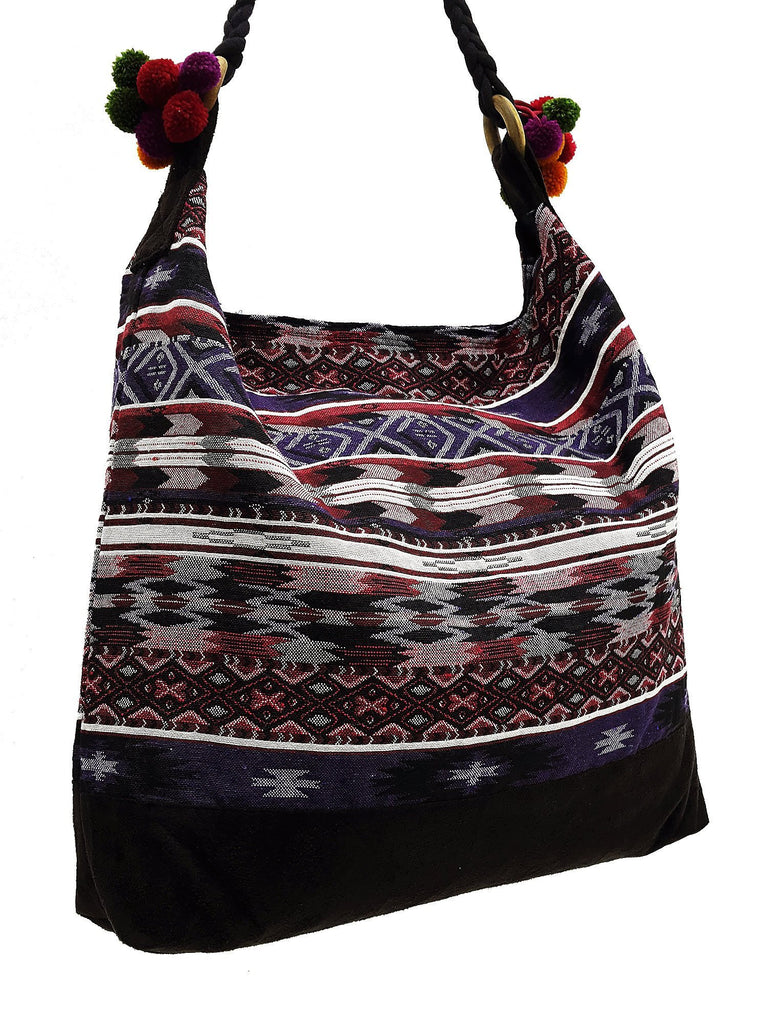 SWP8 - Thai Woven Bag Cotton Purse Tote bag Women bag Hippie bag Hobo bag Boho bag Shoulder bag Market bag Shopping bag Handbags Pom Pom Strap