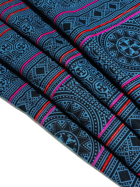 Thai Hand printed Fabric Natural Cotton Fabric by the yard Hmong Fabric Hill Tribe Fabric Vintage Fabric Batik Turquoise Blue Black HF81
