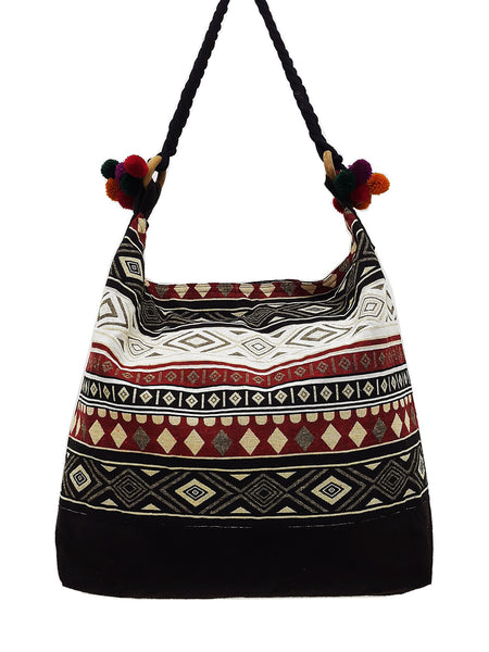 SWP9 - Thai Woven Bag Cotton Purse Tote bag Women bag Hippie bag Hobo bag Boho bag Shoulder bag Market bag Shopping bag Handbags Pom Pom Strap