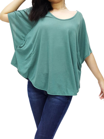BF03 Blouses Boat Neck Off Shoulder Green