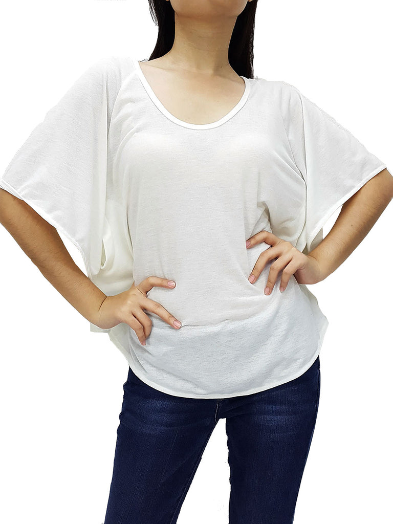 BF03 Blouses Boat Neck Off Shoulder White