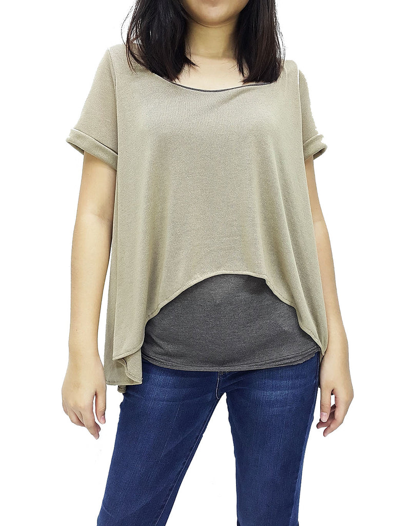 BF04 Blouses Fake Layered Wide Neck Short Sleeves Beige Grey