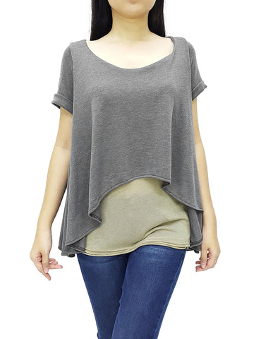 BF04 Blouses Fake Layered Wide Neck Short Sleeves Grey Beige
