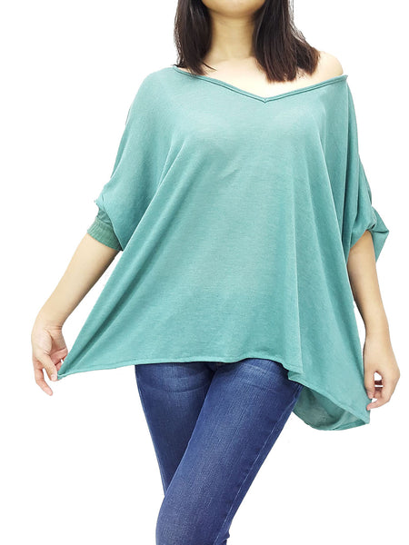 BF05 Blouses Wide Neck Off Shoulder Medi Sleeves Jumper Green, Cozzzy, HaremPantsThai