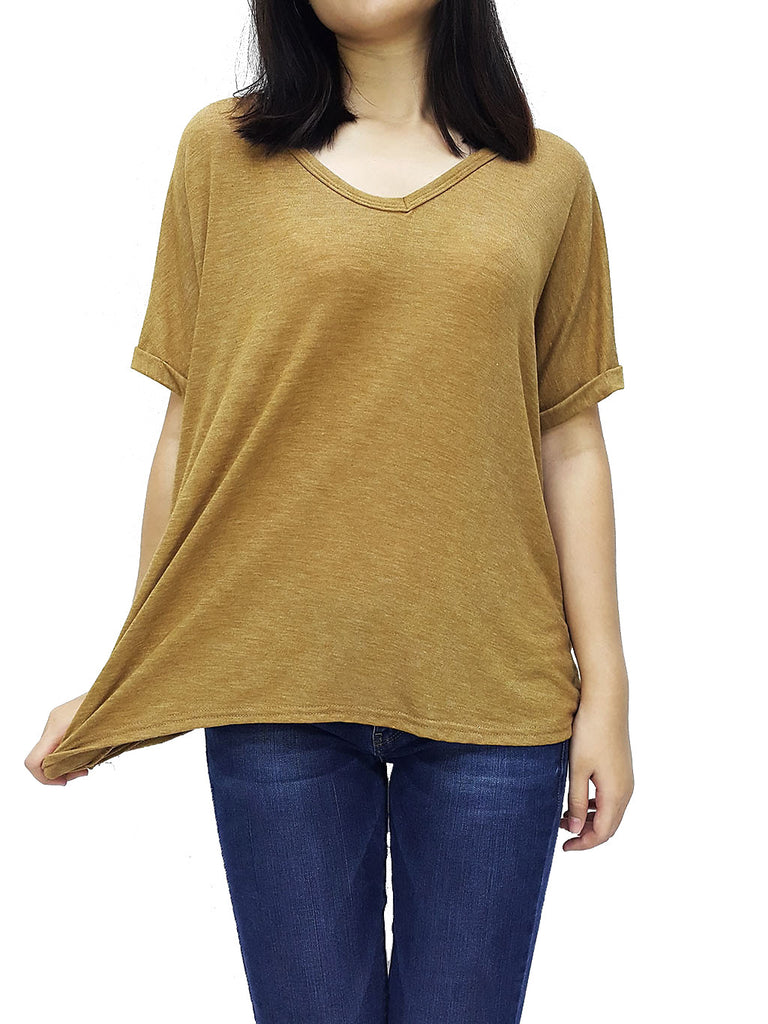 BF06 Blouses Wide Neck V Neck Short Sleeves Brown Gold, Cozzzy, HaremPantsThai