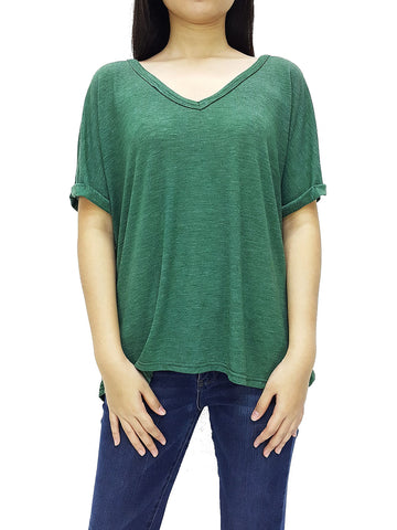 BF06 Blouses Wide Neck V Neck Short Sleeves Green, Cozzzy, HaremPantsThai