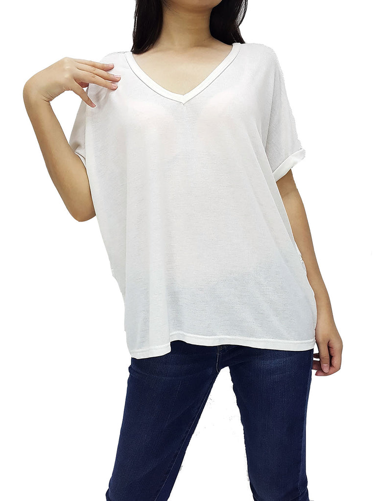 BF06 Blouses Wide Neck V Neck Short Sleeves White, Cozzzy, HaremPantsThai