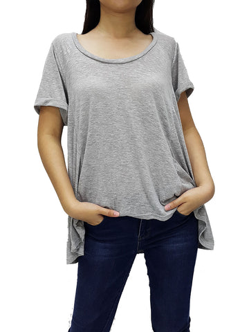 BF07 Blouses Crew Neck Wide Neck Short Sleeves Grey