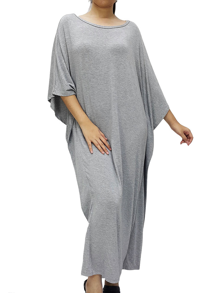 BF08 Dress Crew Neck Wide Neck Midi Sleeves Spandex Jersey Grey, Cozzzy, HaremPantsThai