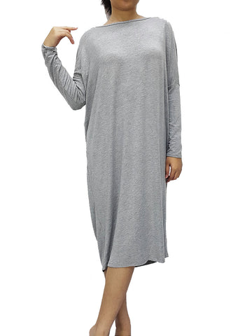 BF09 Dresses Boat Neck Wide Neck, Midi Sleeves Spandex Jersey Grey