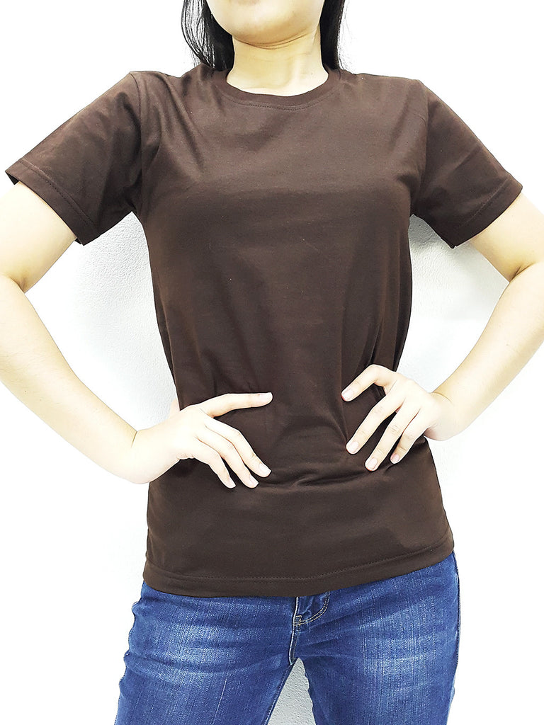 CTS06 100% Cotton Unisex Adult T Shirt Crew Neck V Neck Long Sleeves Solid Brown, Cozzzy, HaremPantsThai