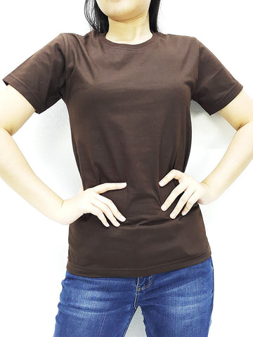CTS06 100% Cotton T Shirt Crew Neck V Neck Long Sleeves Solid Brown