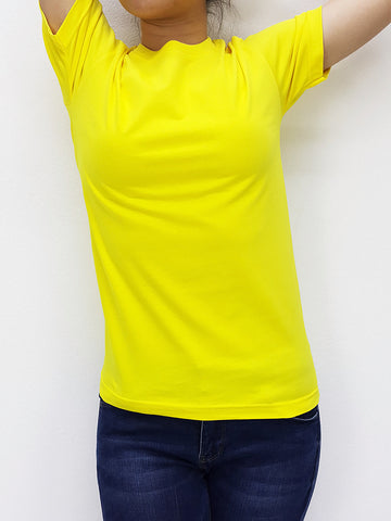 CTS09 100% Cotton T Shirt Crew Neck V Neck Long Sleeves Solid Yellow