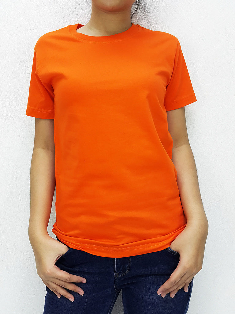 CTS13 100% Cotton T Shirt Crew Neck V Neck Long Sleeves Solid Orange