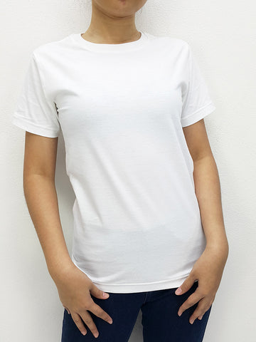 CTS17 100% Cotton T Shirt Crew Neck V Neck Long Sleeves Solid White