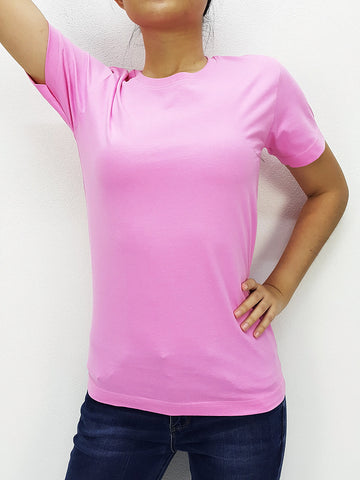 CTS18 100% Cotton T Shirt Crew Neck V Neck Long Sleeves Solid Light Pink