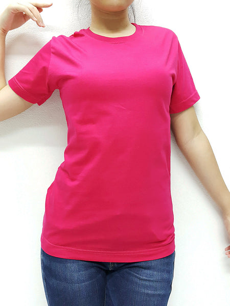 KCTS23 100% Cotton Unisex Kids T Shirt Crew Neck V Neck Solid Hot Pink