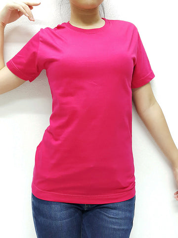 CTS23 100% Cotton T Shirt Crew Neck V Neck Long Sleeves Solid Hot Pink