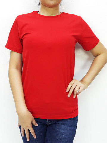 CTS28 100% Cotton T Shirt Crew Neck V Neck Long Sleeves Solid Red