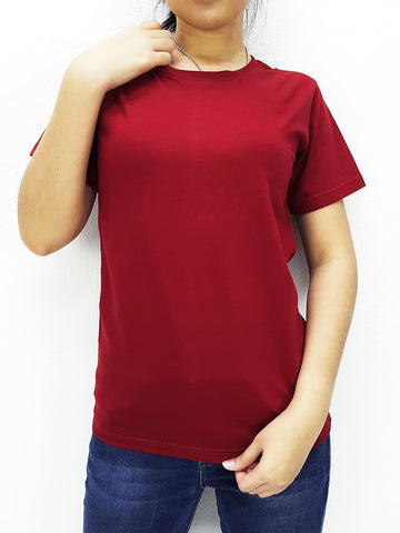 CTS29 100% Cotton T Shirt Crew Neck V Neck Long Sleeves Solid Maroon