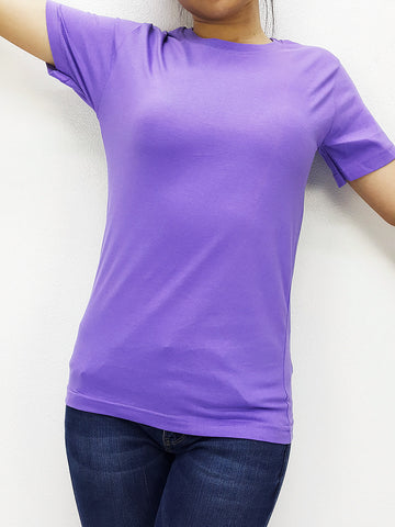 CTS31 100% Cotton T Shirt Crew Neck V Neck Long Sleeves Solid Light Purple