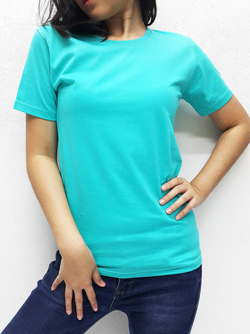 CTS36 100% Cotton T Shirt Crew Neck V Neck Long Sleeves Solid Mint Green