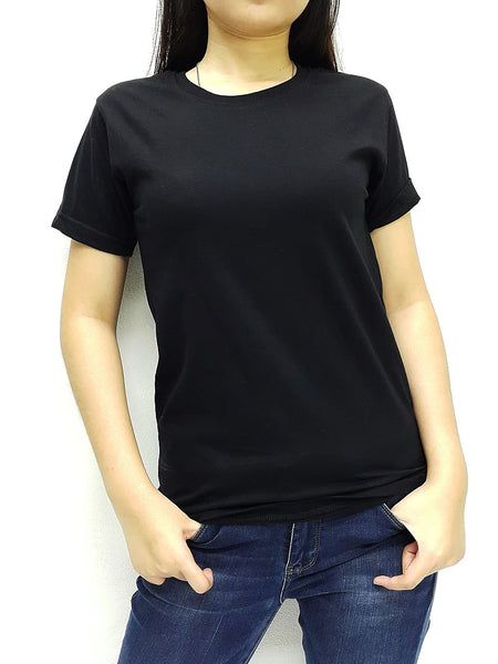 KCTS45 100% Cotton Unisex Kids T Shirt Crew Neck V Neck Solid Black
