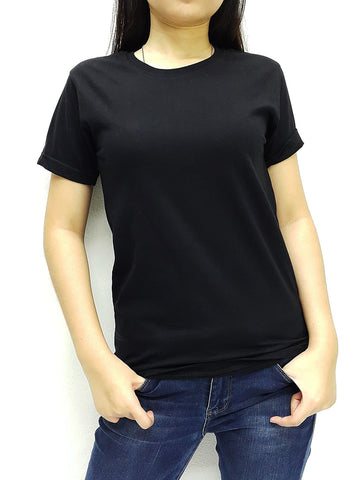 CTS45 100% Cotton T Shirt Crew Neck V Neck Long Sleeves Solid Black