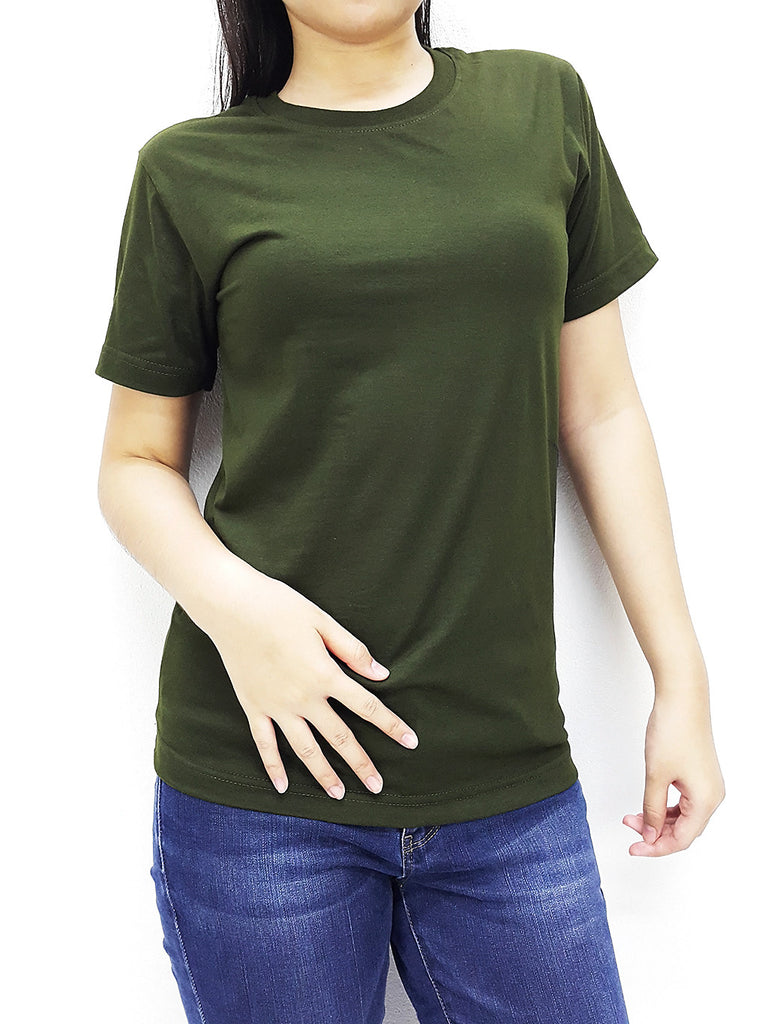 CTS62 100% Cotton Unisex Adult T Shirt Crew Neck V Neck Long Sleeves Solid Olive Green, Cozzzy, HaremPantsThai