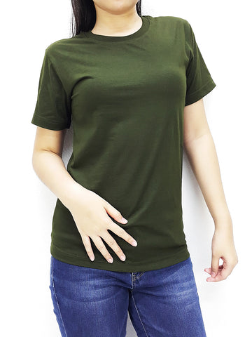 CTS62 100% Cotton T Shirt Crew Neck V Neck Long Sleeves Solid Olive Green