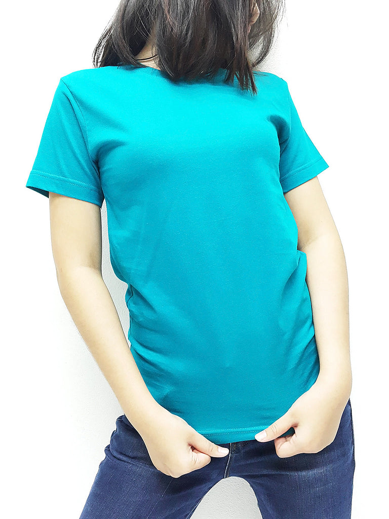 KCTS68 100% Cotton Unisex Kids T Shirt Crew Neck V Neck Solid Teal Green
