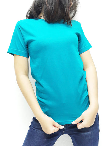 CTS68 100% Cotton T Shirt Crew Neck V Neck Long Sleeves Solid Teal Green