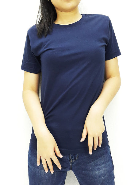 KCTS70 100% Cotton Unisex Kids T Shirt Crew Neck V Neck Solid Navy Blue