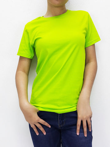 KCTS71 100% Cotton Unisex Kids T Shirt Crew Neck V Neck Solid Lime Green