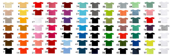 Color Chart 100% Cotton T Shirts