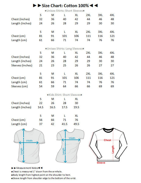 Size Chart 100% Cotton T Shirts