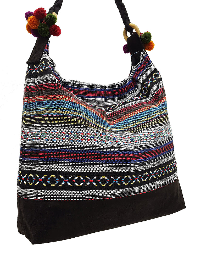 SWP11 - Thai Woven Bag Cotton Purse Tote bag Women bag Hippie bag Hobo bag Boho bag Shoulder bag Market bag Shopping bag Handbags Pom Pom Strap