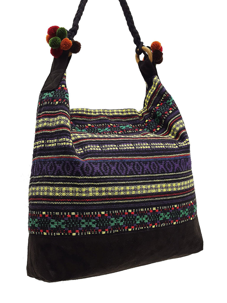 SWP13 - Thai Woven Bag Cotton Purse Tote bag Women bag Hippie bag Hobo bag Boho bag Shoulder bag Market bag Shopping bag Handbags Pom Pom Strap