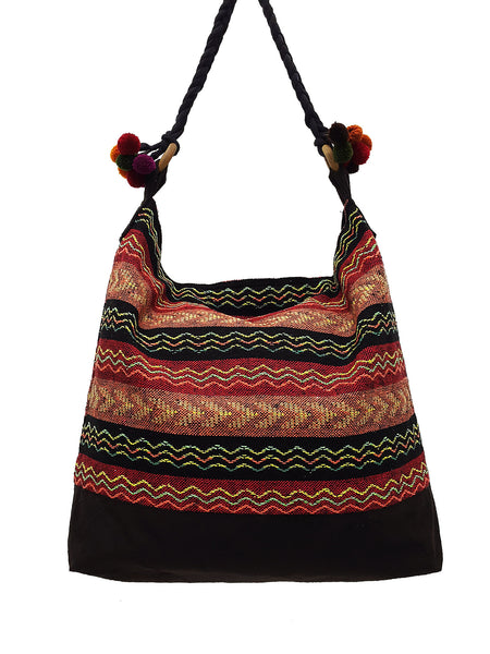 SWP15 - Thai Woven Bag Cotton Purse Tote bag Women bag Hippie bag Hobo bag Boho bag Shoulder bag Market bag Shopping bag Handbags Pom Pom Strap
