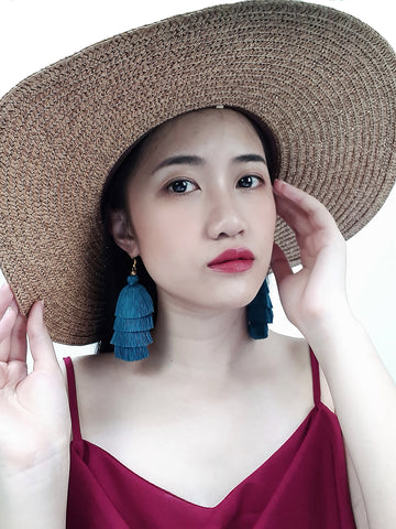 Piida Tiered Tassel Earrings Dangle Drop Earrings Bohemian Boho Earrings Ethnic Jewelry Fringe Tassel Women Earrings Cotton Ocean Blue TTE-C16